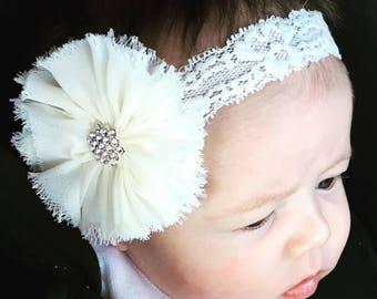 Ivory vintage lace headband