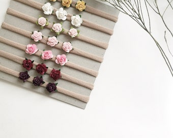 Trio of Blooms, Flower Headband, Baby, Baby Accesories, Floral, Baby Bows, Nylon Headband