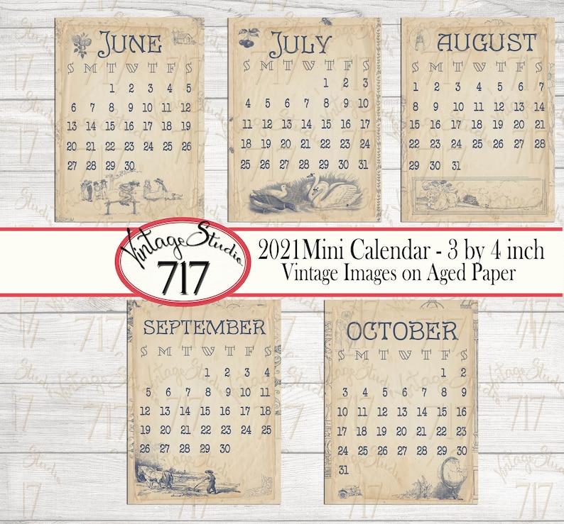 3x4 inch Vintage Calendar 2021 DIGITAL Pocket Size Mini | Etsy