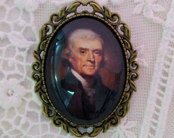 Thomas Jefferson Cameo Brooch, Revolutionary, Founding Father, Liberty Hero, Historical Reproduction Cameo,