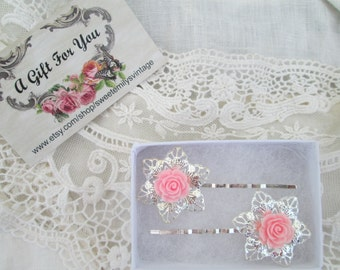 Enduring Roses SilverPlated HairBobby Pins,Gifting Ready,Tea Rose Hair Adornments,Fresh Vintage,Valentine's,Pink,Ivory,Black Roses