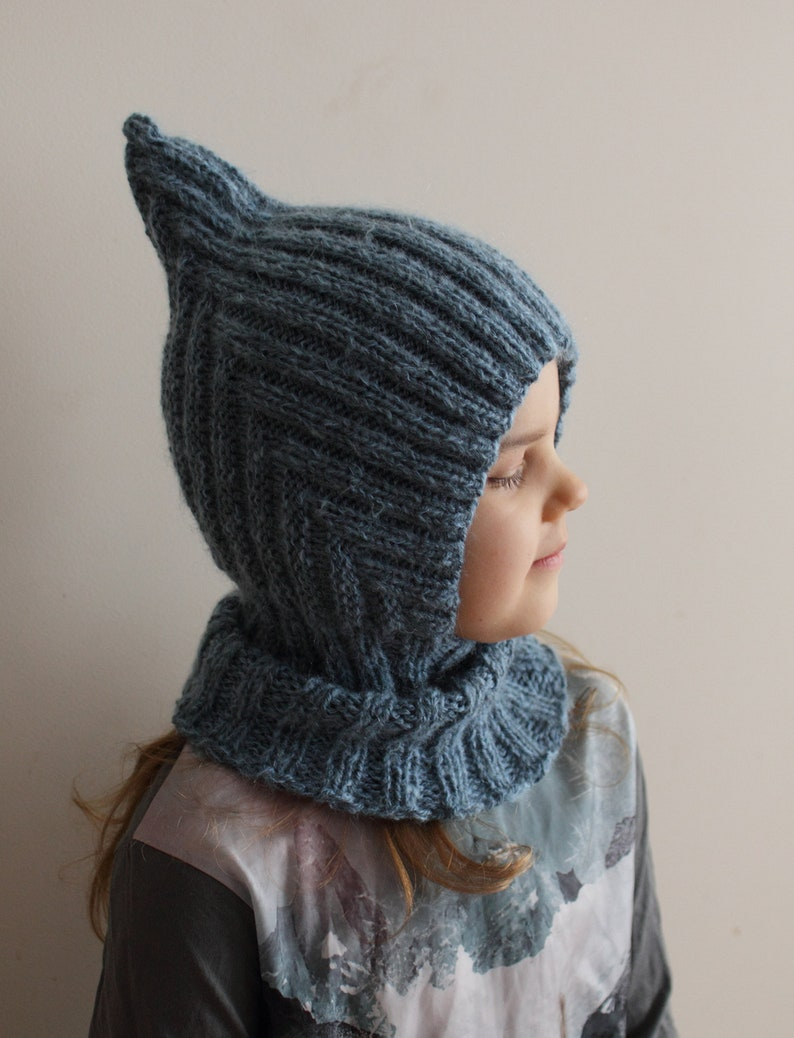 548ad34bb71 Knitted warm and soft baby balaclava hood hat with collar