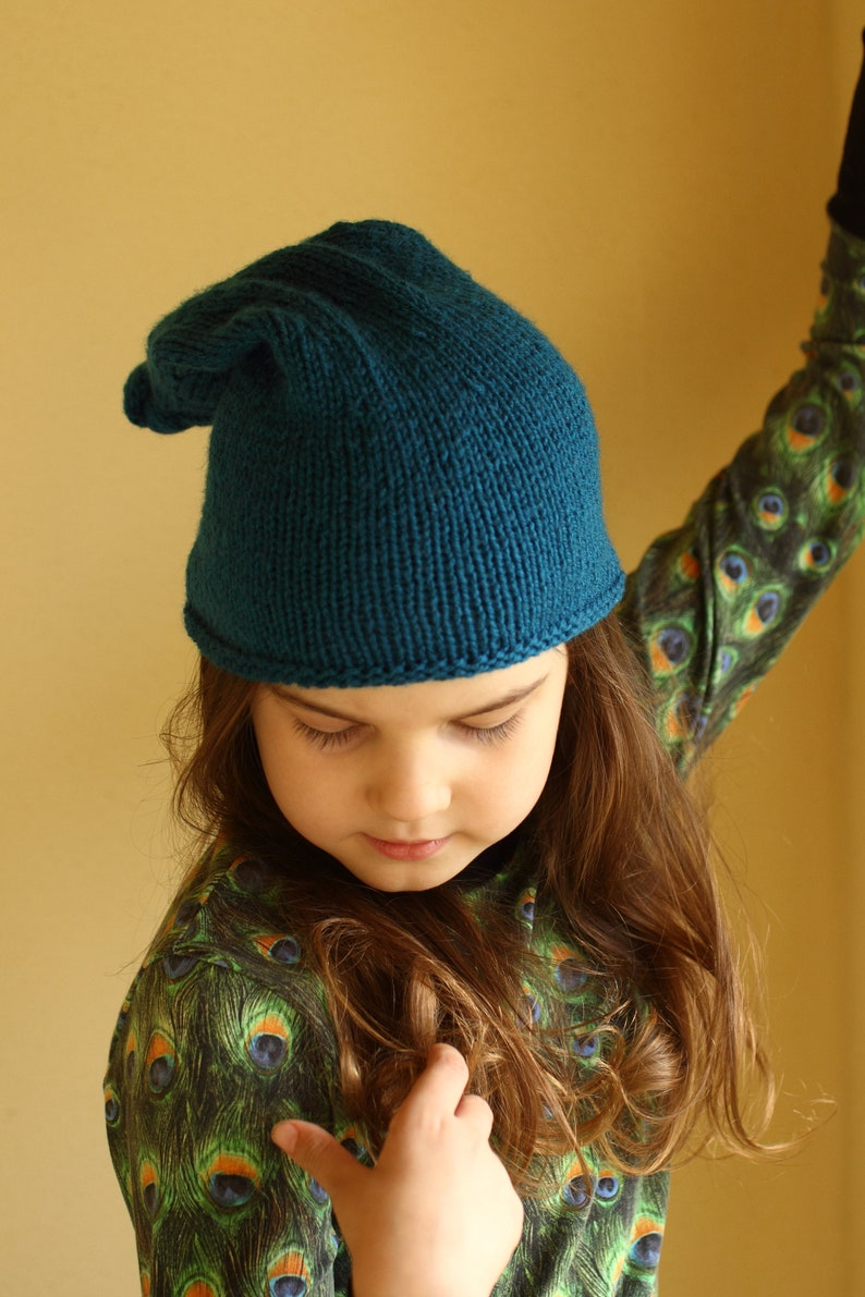 child to adult size top knot beanie blue beanie hat elf hat spring hat hat with long tail fall hat sleepy cap stocking hat knot hat