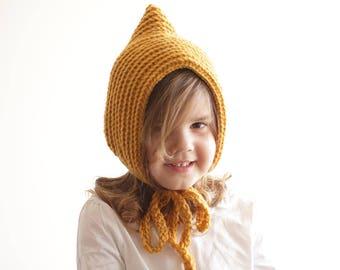 child hood, 3-5 years, knit hood, pixie hood, pixie hat, crochet hood, childrens hood, childrens bonnet, child bonnet, mustard yellow hood