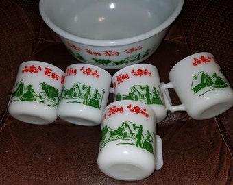 Vintage Christmas Milk Glass Egg Nog Punch Bowl Set