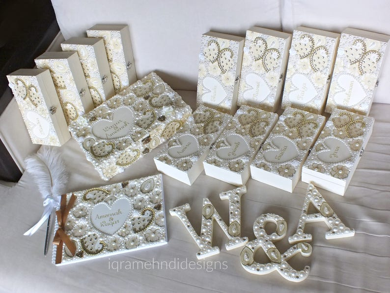 Luxury Bridal Wedding Set Guest Book Wooden Letters Bridesmaid Gifts Cream Ivory Gold Indian Henna Mehndi Mendhi Personalised