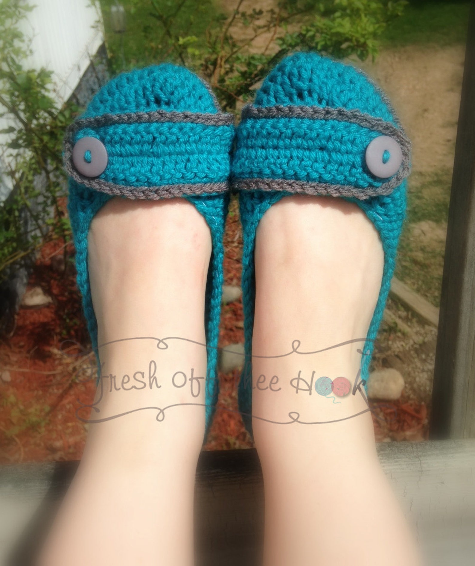 crochet womens ballet flat house slippers sizes 5-10 made to order any color