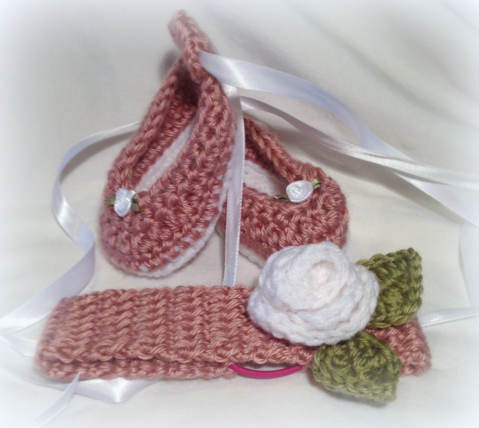 crochet baby girl 0-3mo ribbon tie up ballet shoes slippers & headband set- custom made to order-