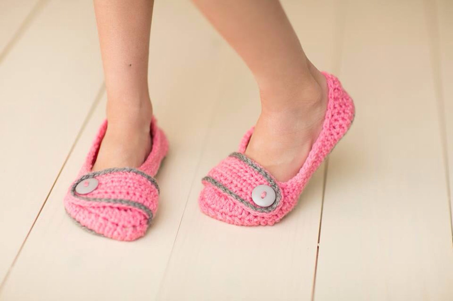 crochet girls ballet flat house slippers sizes 10-2 custom made to order any color