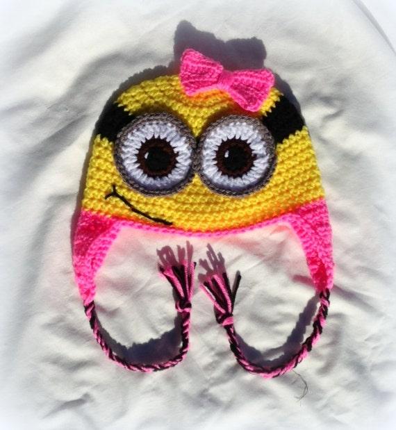 Minion Ohrklappe Hut häkeln eins und zwei Augen