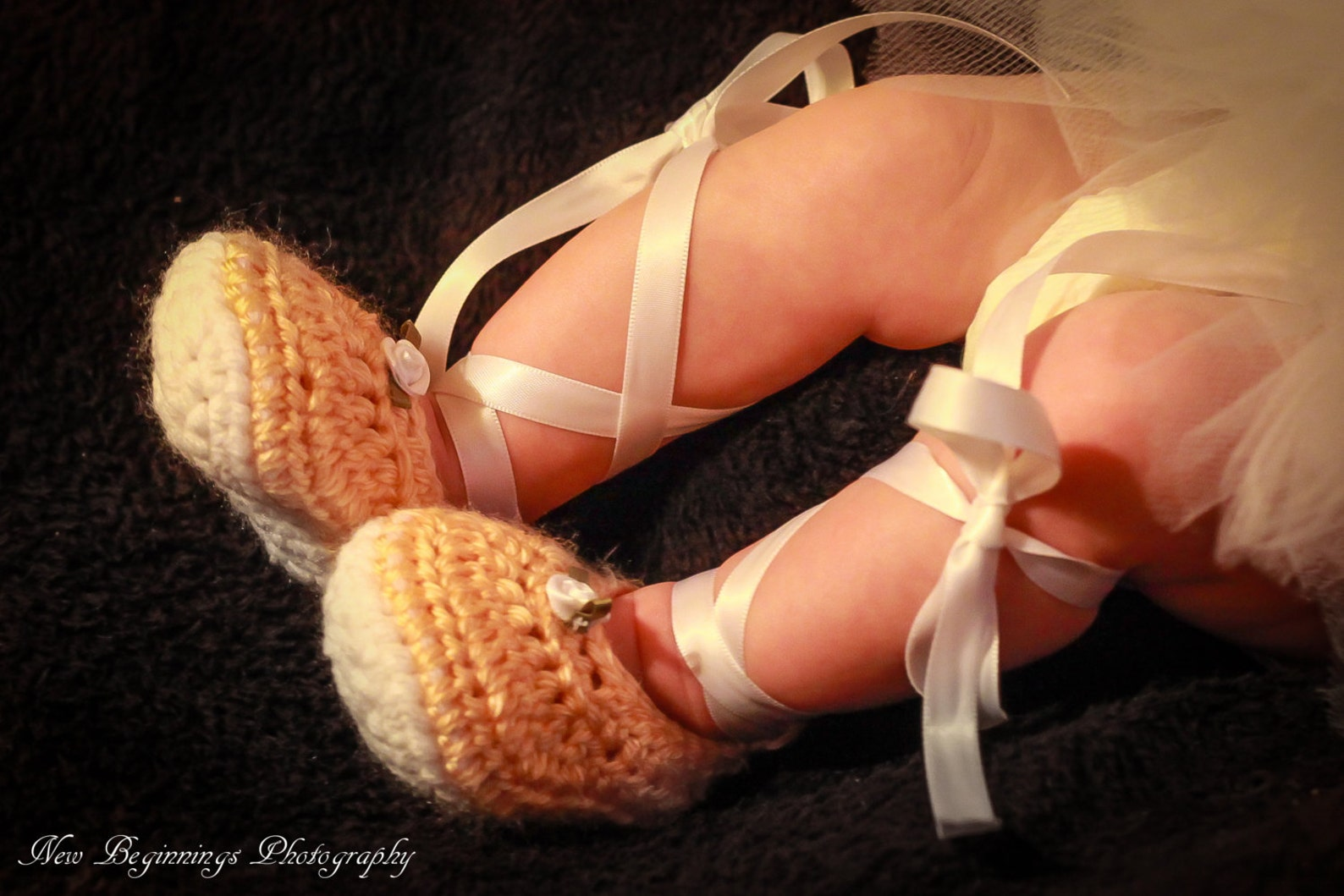 crochet baby girl ribbon tie up ballet shoes slippers - custom made to order-