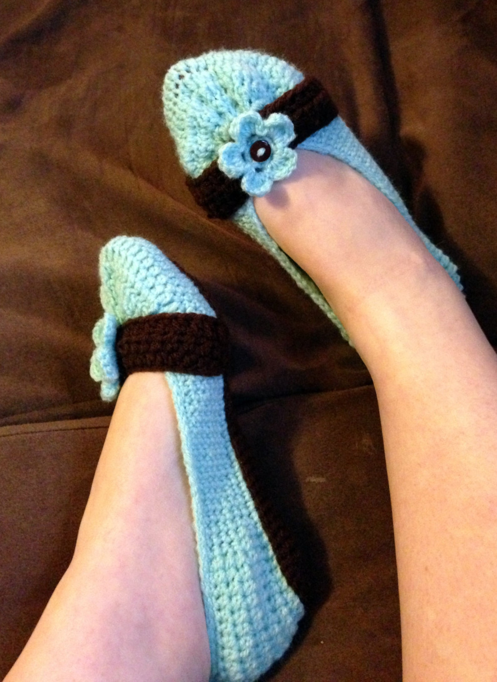 crochet adult womens cute button flower ballet flat house slippers sizes 5-10 custom made to order