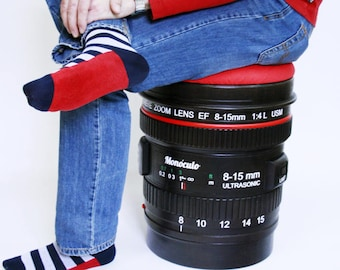 Camera lens wood stool with storage   photographer gift