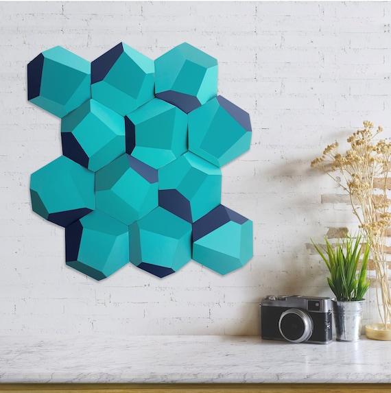 Set De 12 Módulos Facetados De Madera Para Decoración De Pared Módulos Hexagonales