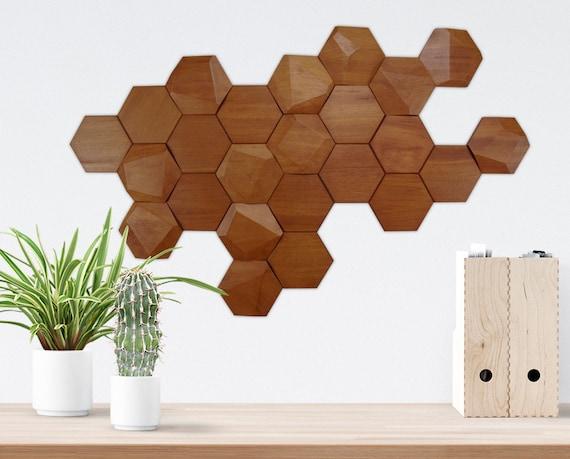 Set De 24 Módulos Facetados De Madera Para Decoración De Pared 12 Lisas 12 Facetadas Módulos Hexagonales