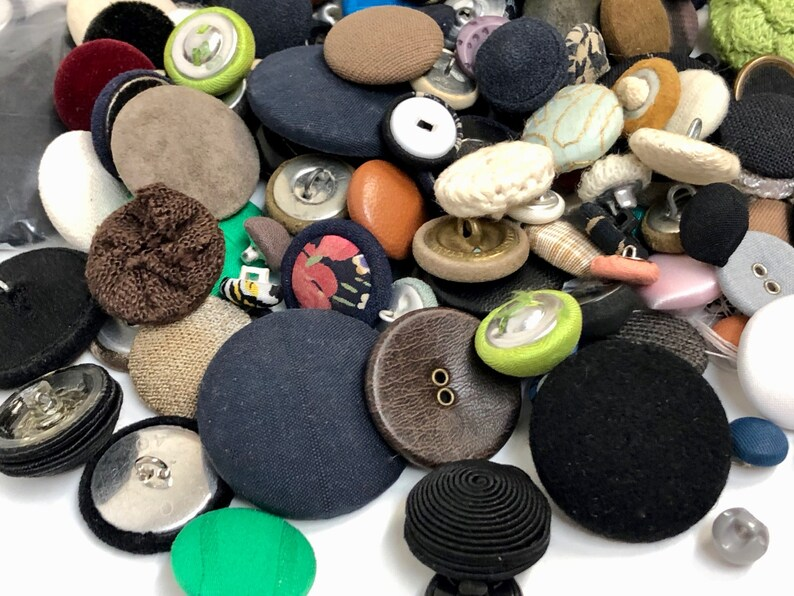 Vintage Covered Button Lot  185 Assorted Leather Crocheted Silk Velvet Suede Sewing Replacement Buttons  Closures  Vintage Supplies