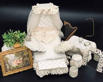 1:12 Scale → Half Canopy Bed + Coordinating Furniture And All Accessories—Dollhouse Miniature Off-White Bedroom Decor—Handmade Vintage