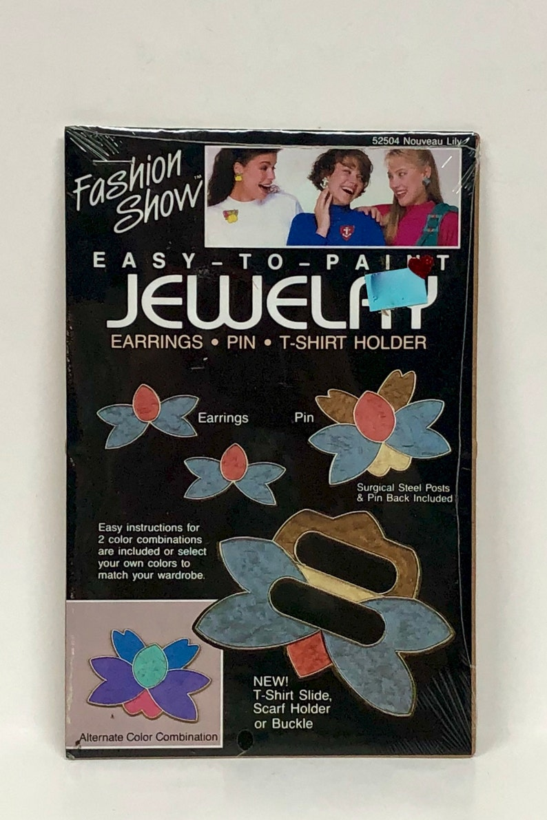 Pin Fashion Show\u2122 Easy To Paint Jewelry Kit \u2014Choose From 6 Different Designs\u2014 DIY Earrings Buckle Scarf Holder\u2014 NOS\u2014 Home /& Hobby Crafting
