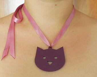 Purple Cat. Pink Ribbon. Necklace.