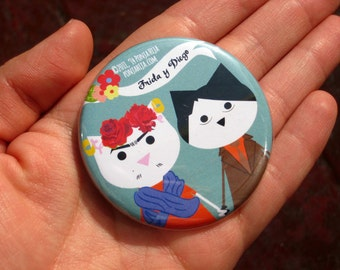 Frida Kahlo and Diego Rivera, pinback button 2.16 in