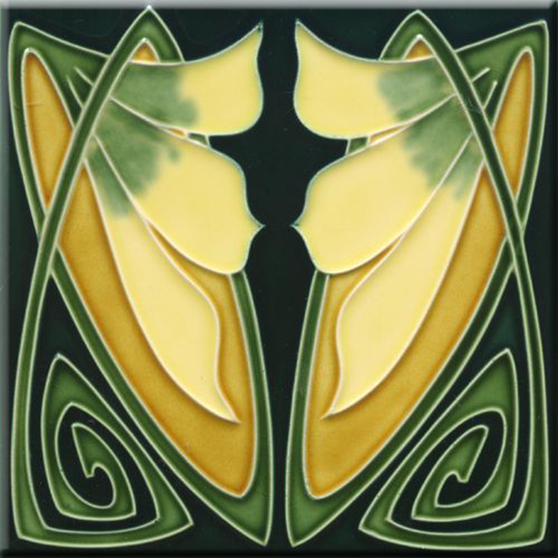 Art Nouveau Reproduction decorative Fireplace Coaster Ceramic tile 4.25 X 4.25 or 6 x 6 Inches #1017