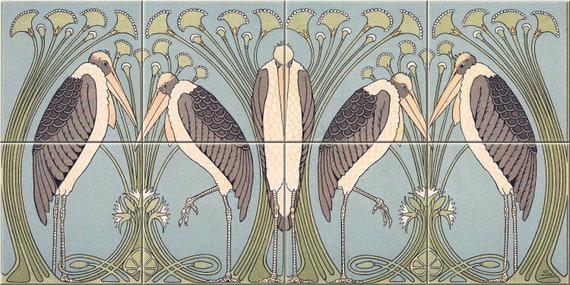 Art Nouveau Marabou Ceramic Tile Mural Backsplash William Etsy
