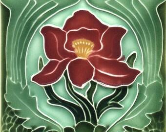 Art Nouveau decorative Ceramic tile