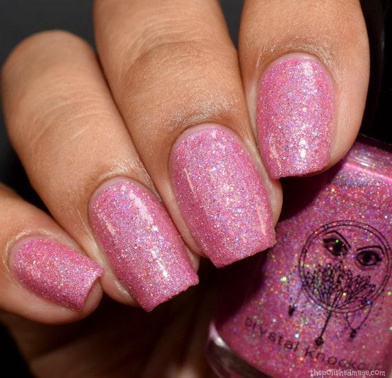 Bright Pink Nail Polish Vegan Reduced Chemical Crystal   Etsy