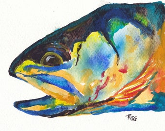 """Catch and Release Series: Electric Trout watercolor Print 8.25"""" x 8.25"""""""