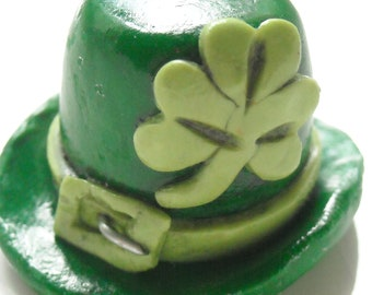 Leprechaun Hat with Clover, Polymer clay Charm, St. Patrick's Day Charm, Lucky Charm Necklace