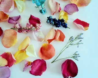 BRIDAL PATH PETALS, Rose Petals & Wildflowers, Strewing Herbs, Biodegradable, for fairy tale endings