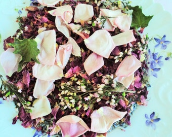 BRIDAL HEATHER™ Flower Confetti, romantic toss of pink rose petals, heather, herbs, ecofriendly confetti, for fairy tale endings