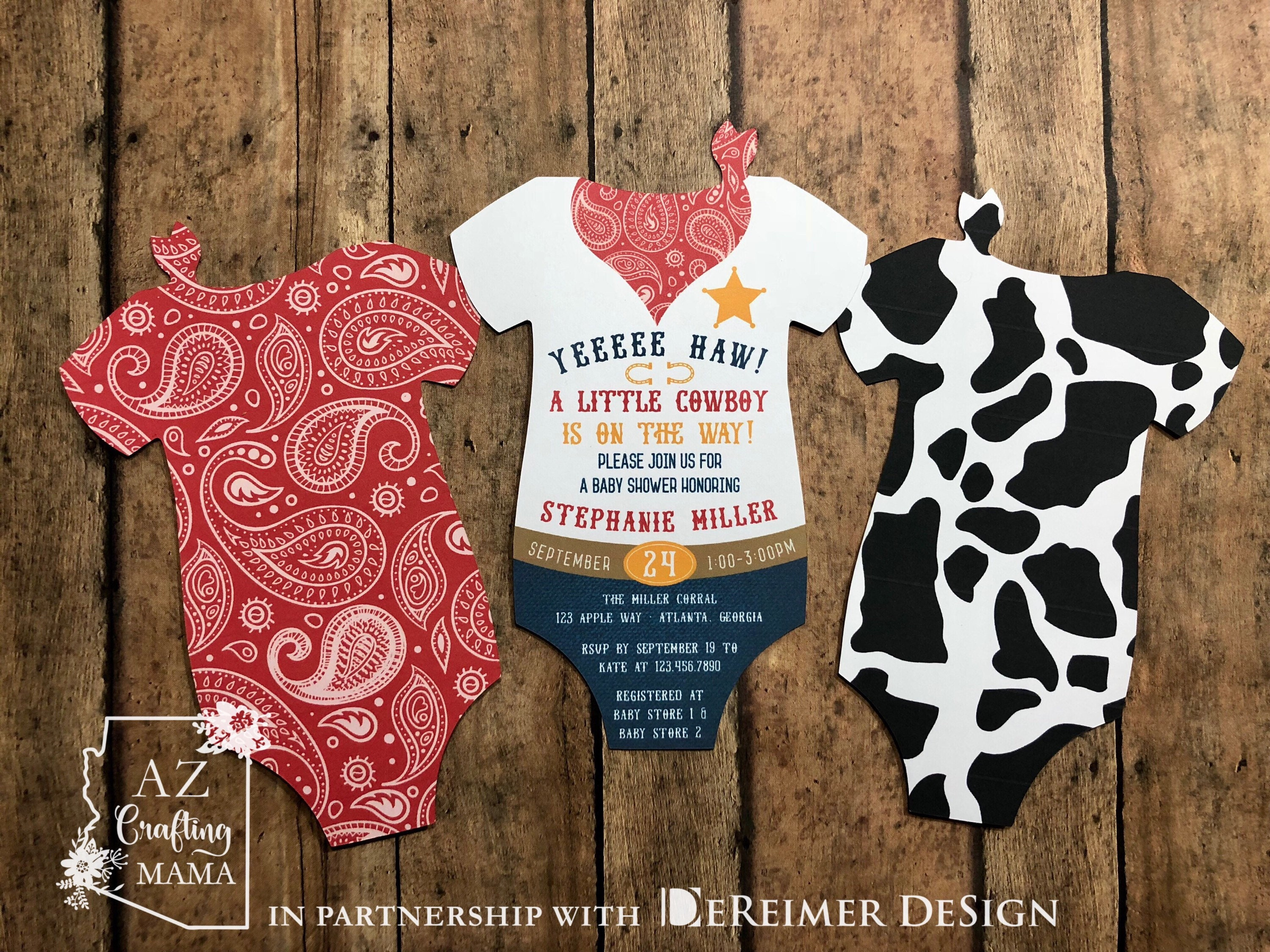 Cowboy Baby Shower Invitation Rodeo Cow Print Western