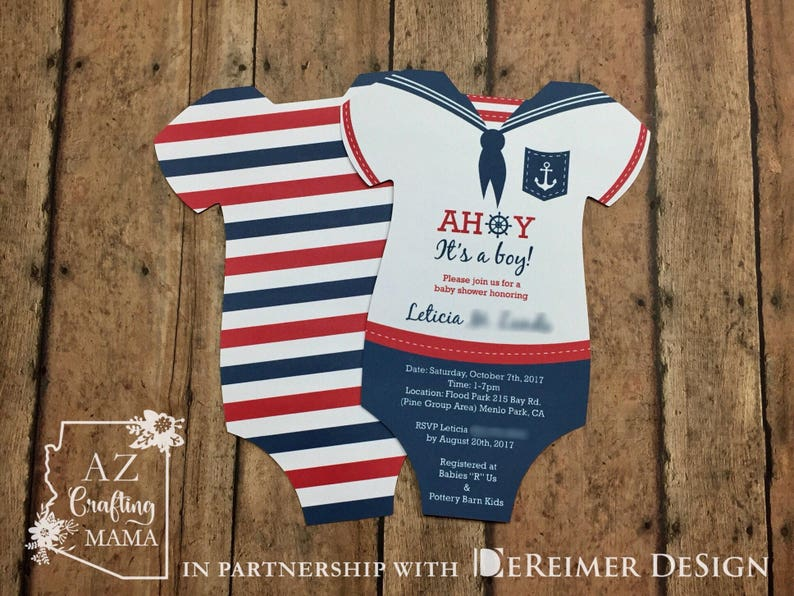 6cac56bc1 Nautical Baby Shower Invitations Onesie Ahoy its a Boy