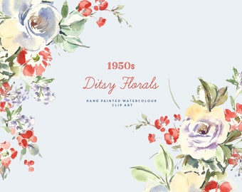 1950s Ditsy Florals   Hand-Painted Watercolour Floral Clip Art   Vintage Flowers   Fifties Flower Graphics   Red Geraniums   Create the Cut