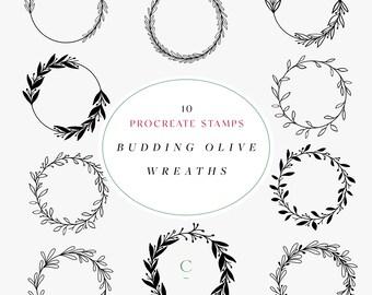 Hand Drawn Procreate Wreath Brushes - Procreate Garland Stamps - Olive Wreath Procreate Stamps - Flower Procreate Brush - Budding Olive