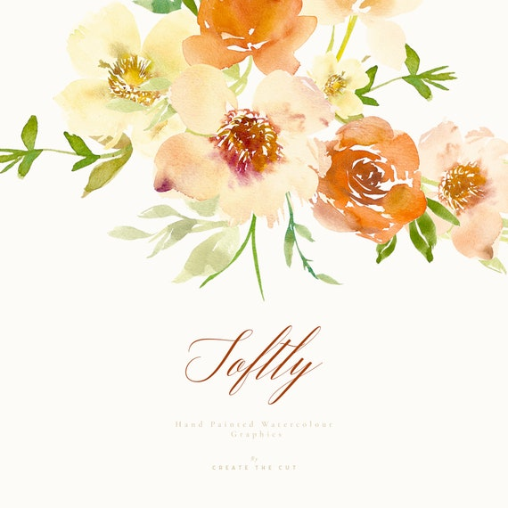Hand Painted Watercolour Spring Flower Clipart Softly Etsy