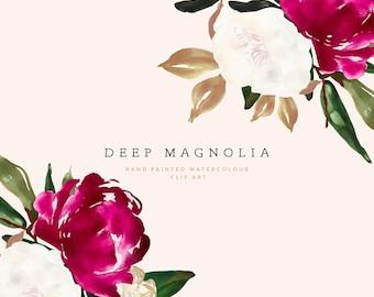 Floral Watercolor Clipart - Botanical Watercolor Clip Art - Red Watercolor Magnolia - White Magnolia - Floral Arrangement - Deep Magnolia
