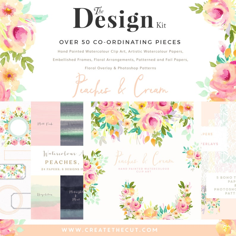 The Design Kit - Peaches and Cream - Flower Watercolour Clipart