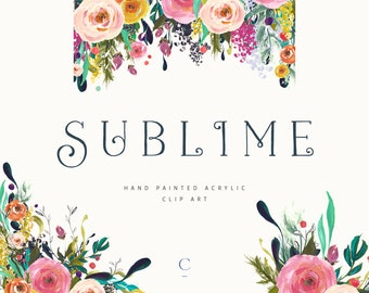 Sublime | Hand-Painted Flower Clip Art Collection | Roses | Syringa Josee Dwarf Lilac | Oregon Grape & Pink Pagoda Berries | Create the Cut