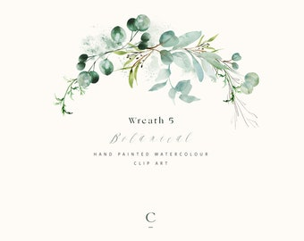 Watercolor Eucalyptus Wreath - Watercolor Greenery - Watercolor Half Wreath Clipart - Clipart Arrangement - Wedding Greenery - Botanical 5