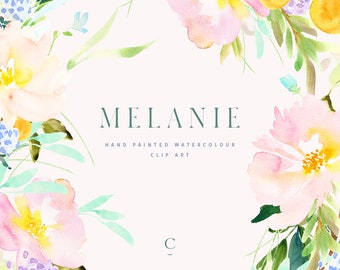 Melanie | Watercolour Flower Clip Art Collection | Hand-Painted Graphics | Pink Pansies | Yellow Ranunculus | Create the Cut