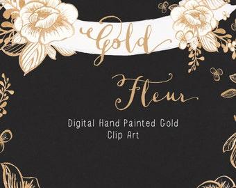 Line Art Clipart - Golden Flower Clip Art - Floral Clipart - Gold Clip Art - Digital Download - PNG - Botanical Clipart - Gold Fleur