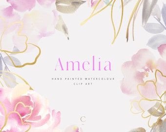 Amelia   Hand Painted Soft Pink Watercolour Clip Art with Gold Illustrations   Peony   Rose   Create the Cut