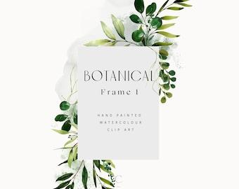 Watercolor Frame Clipart - Watercolor Greenery - Botanical Clipart - Greenery Watercolour Frame - Watercolor Arrangement - Frame 1