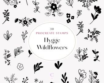 30 Hand Drawn Procreate Wildflower & Foliage Brushes - Procreate Botanical Stamps - Floral Procreate Stamps - Flower Procreate Brush - Hygge