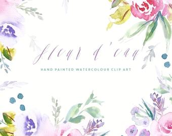 Fleur D'eau | Flower Watercolour Clip Art | Pink Peonies | Blue Water Hyacinths | Rosemary Bush Flowers | Leaves | Berries | Create the Cut