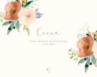 Cocoa | Hand-Painted Watercolour Rose Clip Art | Peach & Orange Roses | Foliage in Silver and Powder Blue | Berries | Create the Cut