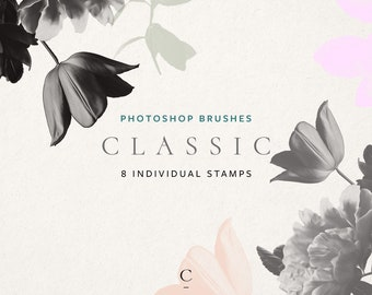 Real Flower Photoshop Brushes, Photoshop Stamps, Floral Stamps, Photoshop Brushes, Commercial Use, Rose Stamp, Peony Brush, Tulip - Classic
