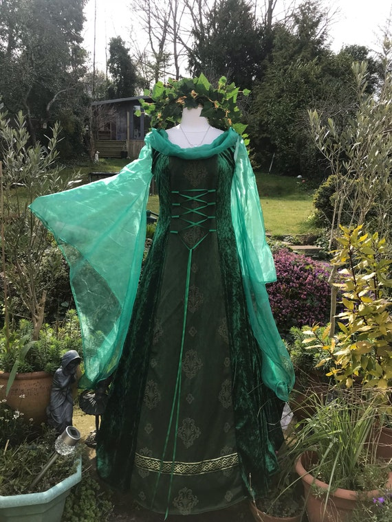 Woodland wedding 14 handfasting gown pagan renaissance medieval dress Celtic boho to 8 gown 8wk0PnO